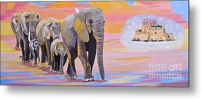 Metal Print featuring the painting Elephant Fantasy Must Open by Phyllis Kaltenbach