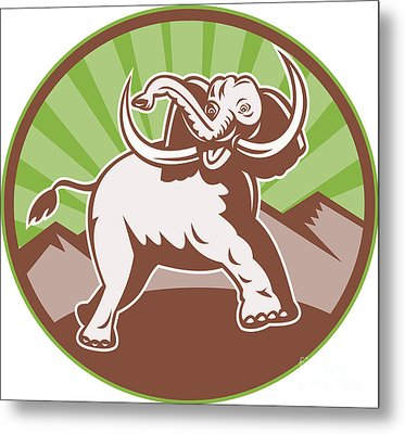 Elephant Giant Tusk Side Retro Circle Metal Print by Aloysius Patrimonio