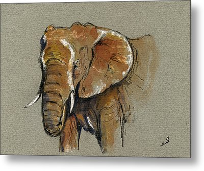 Elephant Head African Metal Print by Juan  Bosco
