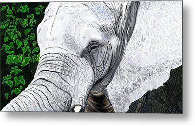 Metal Print featuring the painting Elephant II by Jeanne Fischer