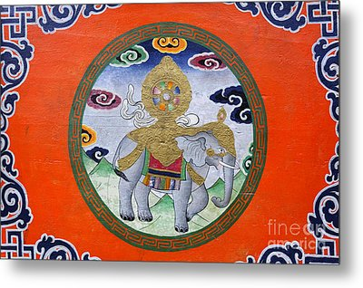 Elephant Illustration At The Buddhist Labrang Monastery In Sikkim India Metal Print by Robert Preston