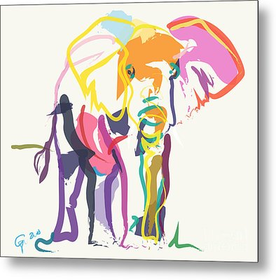 Elephant In Color Ecru Metal Print by Go Van Kampen