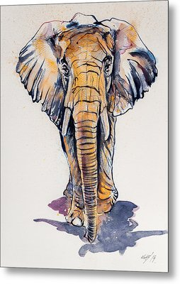 Elephant In Gold Metal Print by Kovacs Anna Brigitta