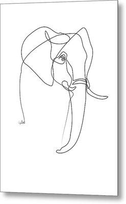 Elephant Line Metal Print