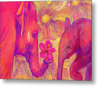 Elephant Love Metal Print by Jane Schnetlage
