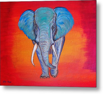 Metal Print featuring the painting Elephant Matriarch by Ella Kaye Dickey