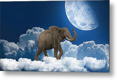 Elephant On Cloud 9 Metal Print by Marvin Blaine
