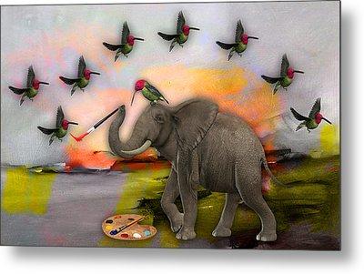 Elephant Creating Birds Metal Print