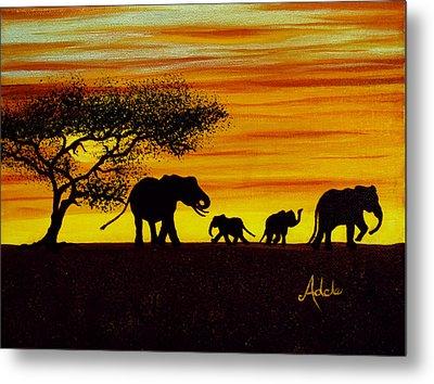 Elephant Silhouette Metal Print