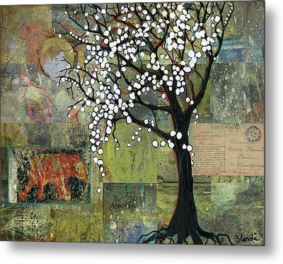 Elephant Under A Tree Metal Print by Blenda Studio