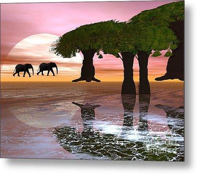 Metal Print featuring the digital art Elephant Walk by Jacqueline Lloyd