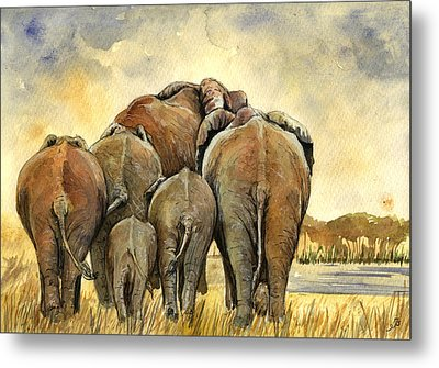 Elephants Herd Metal Print by Juan  Bosco