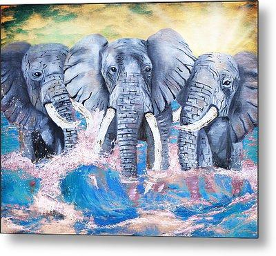 Elephants In The Tide Metal Print by Tara Richelle