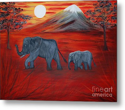 Elephants. Inspirations Collection. Metal Print