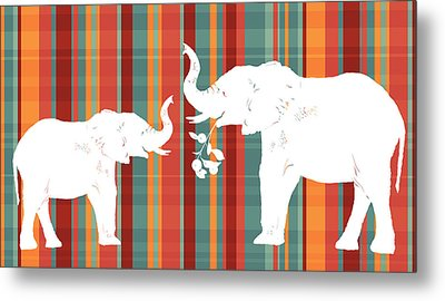 Elephants Share Metal Print by Alison Schmidt Carson