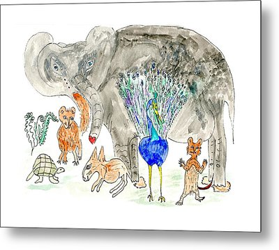 Metal Print featuring the painting Elephoot And Friends by Helen Holden-Gladsky