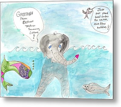 Metal Print featuring the painting Elephoot Swim Lesson by Helen Holden-Gladsky
