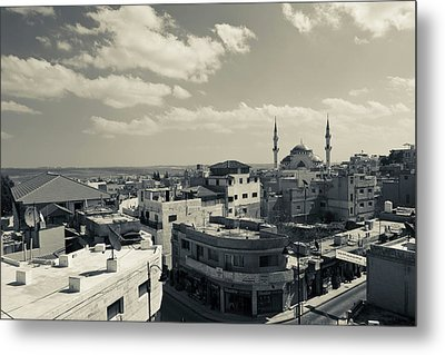 Elevated Town View With Mosque, Madaba Metal Print