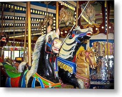 Elizabeth And Friends- Carousel Ponies Metal Print