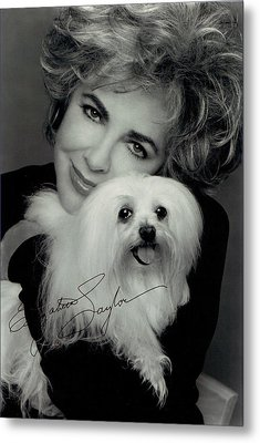 Elizabeth Taylor And Friend Metal Print by Studio Photo