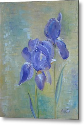 Metal Print featuring the painting Elizabeth's Irises by Judith Rhue
