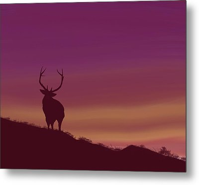 Metal Print featuring the digital art Elk At Dusk by Terry Frederick