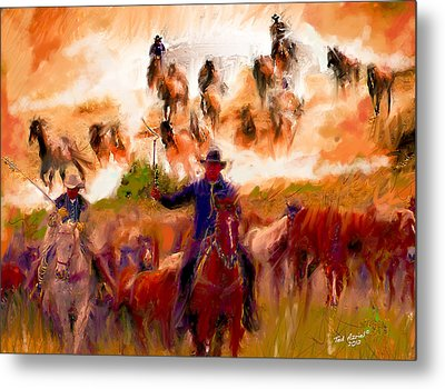 Elk Horse Round Up Metal Print