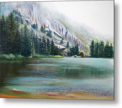 Elk Lake Mist Metal Print