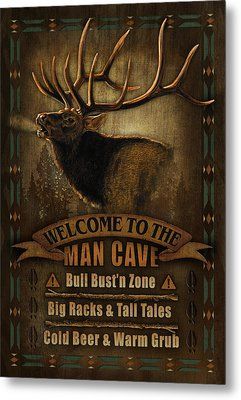Elk Man Cave Sign Metal Print