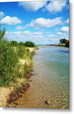 Elk River With Fluffy Clouds Metal Print