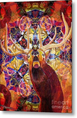 Metal Print featuring the painting Elk Spirits In The Garden by Joseph J Stevens
