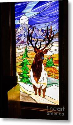 Elk Stained Glass Window Metal Print by Robert Bales