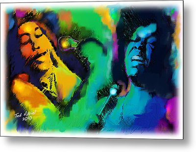 Metal Print featuring the painting Ella And Sara by Ted Azriel