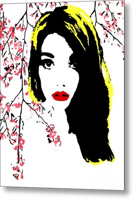 Elsa With Cherry Blossoms Metal Print by Alexandra Rose