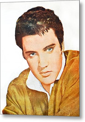 Elvis Colored Portrait Metal Print by Gina Dsgn