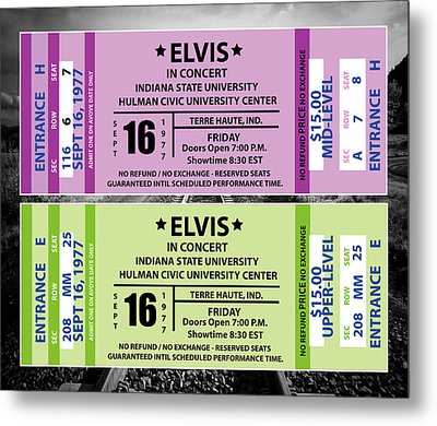 Metal Print featuring the digital art Elvis Presely Tickets by Marvin Blaine