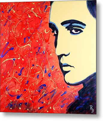 Elvis Presley - Red Blue Drip Metal Print by Bob Baker