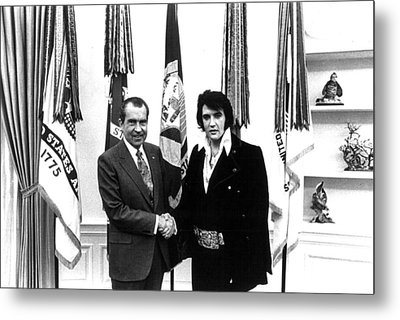 Elvis Presley And President Nixon Metal Print by Retro Images Archive