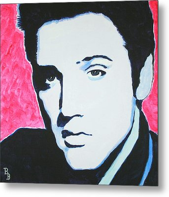 Metal Print featuring the painting Elvis Presley - Crimson Pop Art by Bob Baker