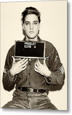 Elvis Presley - Mugshot Metal Print by Bill Cannon
