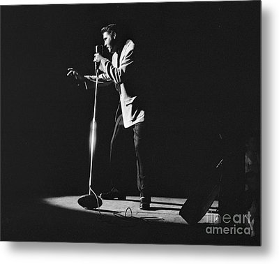 Elvis Presley On Stage In Detroit 1956 Metal Print by The Harrington Collection