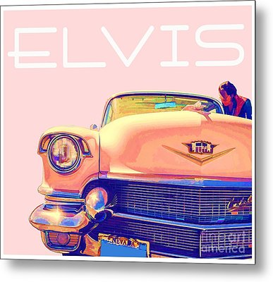 Elvis Presley Pink Cadillac Metal Print by Edward Fielding