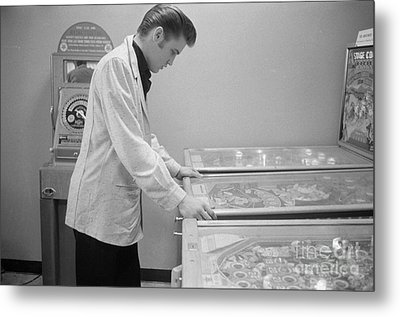 Elvis Presley Playing Pinball 1956 Metal Print by The Harrington Collection