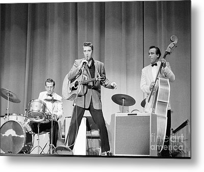 Elvis Presley With D.j. Fontana And Bill Black 1956 Metal Print by The Harrington Collection