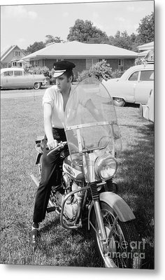 Elvis Presley With His 1956 Harley Kh And His Cadillacs Metal Print by The Harrington Collection