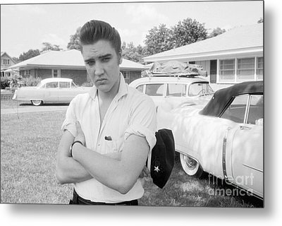Elvis Presley With His Cadillacs 1956 Metal Print