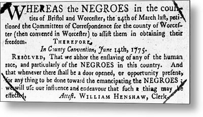 Emancipation Notice, 1775 Metal Print by Granger