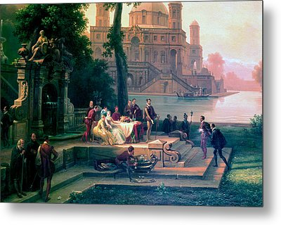 Emanuele Filiberto Receives Torquato Tasso In The Gardens Of The Park Metal Print by Massimo D Azeglio