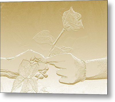 Embossed Gold Rose By Jan Marvin Studios Metal Print