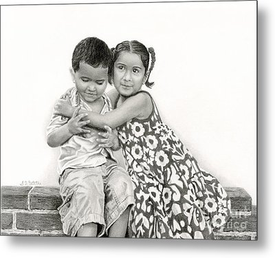 Embracing Friendship Metal Print by Sarah Batalka